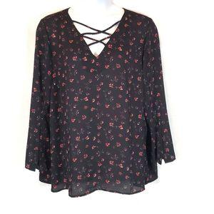Floral cross neck blouse